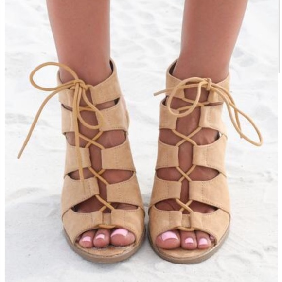 a40476e7c6 Boutique Shoes | Tan Caged Strappy Lace Up Chunky Heel Sandal | Poshmark